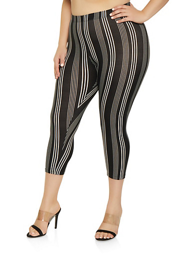 Plus Size Striped Cropped Leggings,BLACK,large