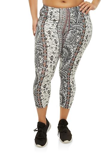 Plus Size Border Print Cropped Leggings,BLACK,large