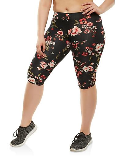 Plus Size Soft Knit Capri Leggings,BLACK,large