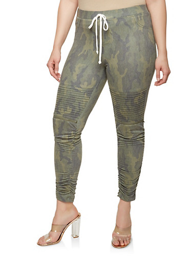 Plus Size French Terry Camo Ruched Moto Joggers,OLIVE,large