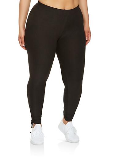 Plus Size Drawstring Side Leggings,BLACK,large