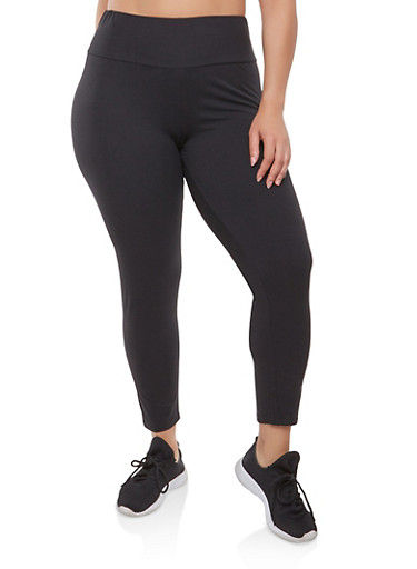 Plus Size Soft Knit Solid Leggings,BLACK,large