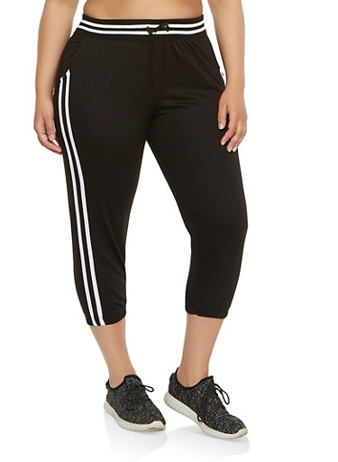 Plus Size Varsity Stripe Capri Sweatpants,BLACK,large