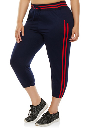 Plus Size Varsity Stripe Capri Sweatpants | Tuggl
