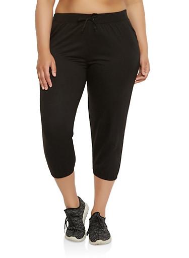 Plus Size Capri Sweatpants,BLACK,large