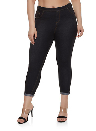 Plus Size Denim Knit Jeggings,BLACK,large