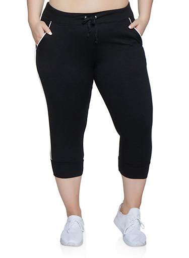 Plus Size Contrast Trim Capiri Sweatpants,BLACK,large