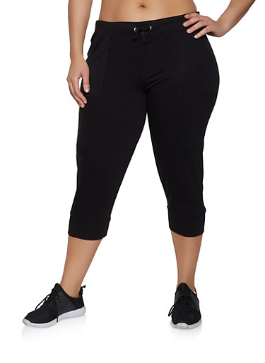 Plus Size French Terry Lined Capri Joggers,BLACK,large