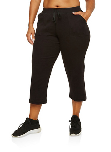Plus Size Cropped Sweatpants,BLACK,large
