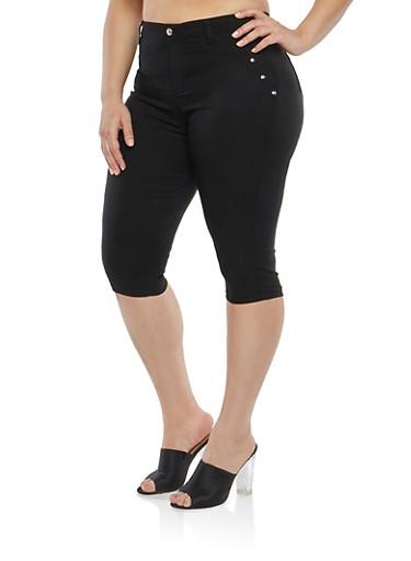 Plus Size High Waisted Stretch Capri Pants,BLACK,large