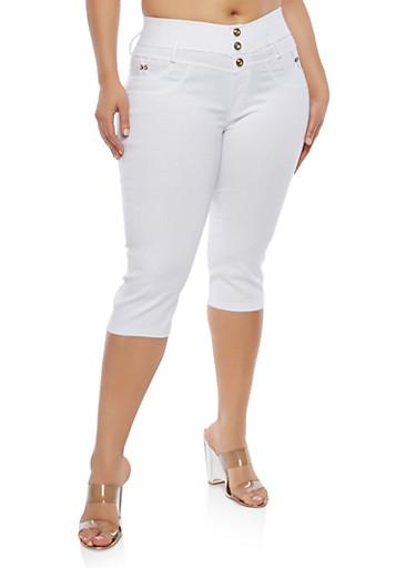 Plus Size White Stretch Capri Pants,WHITE,large