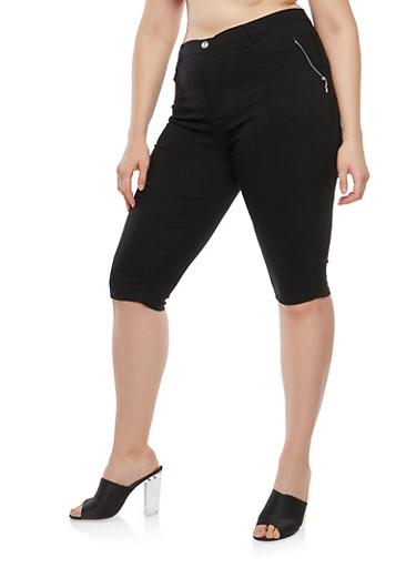 Plus Size Zipper Accent Capri Pants,BLACK,large