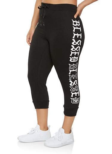 Plus Size Blessed Graphic Capri Sweatpants,BLACK,large