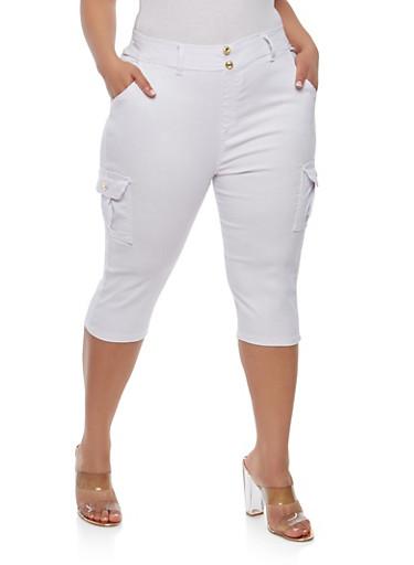Plus Size Cargo Capri Pants,WHITE,large