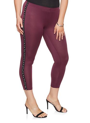 Plus Size Studded Tape Trim Leggings,WINE,large