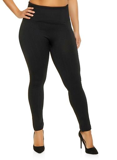 Plus Size Textured Knit Leggings,BLACK,large