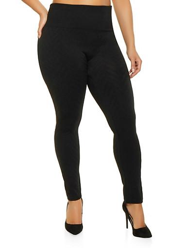 Plus Size Chevron Textured Knit Leggings,BLACK,large
