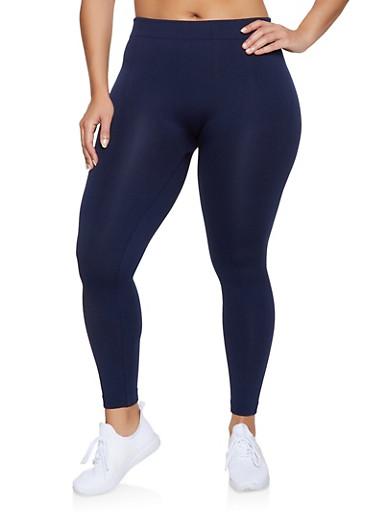 Plus Size Fleece Lined Leggings | 1969001440177,NAVY,large