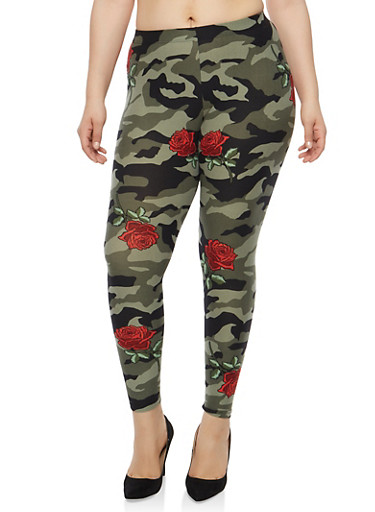 Plus Size Camo Rose Print Leggings | Tuggl