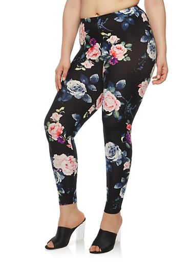 Plus Size Black Floral Leggings | Tuggl