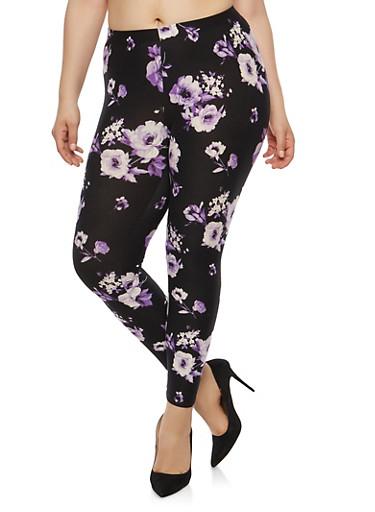 Plus Size Floral Soft Knit Leggings,BLACK-VIOLET,large
