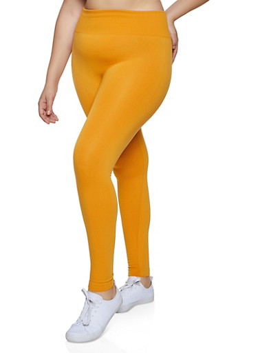 Plus Size Wide Waffle Knit Waist Leggings,GOLD,large