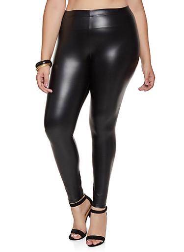 Plus Size Solid Faux Leather Leggings,BLACK,large