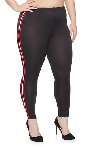 Plus Size Striped Tape Trim Leggings,BLACK,large