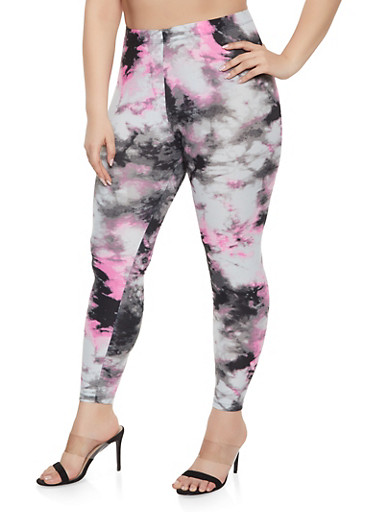 Plus Size Tie Dye Leggings,BLACK,large