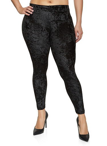 Plus Size Crushed Velvet Leggings,BLACK,large