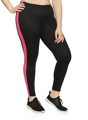 Plus Size Side Stripe Leggings | 1969001441329,PINK,large