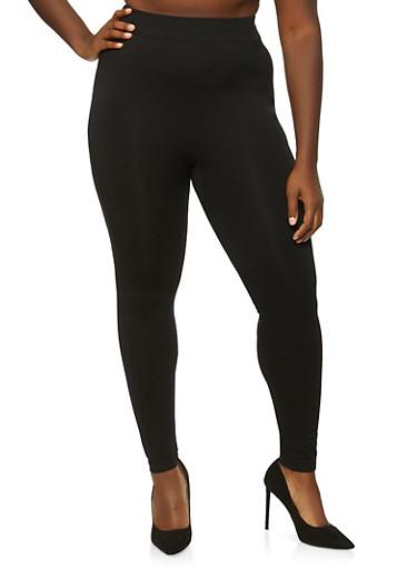 Plus Size Push Up Leggings,BLACK,large