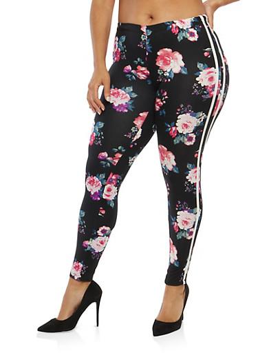 Plus Size Floral Leggings with Side Stripes,BLACK,large