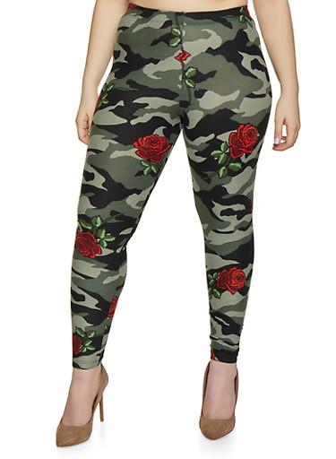 Plus Size Camouflage Floral Leggings,OLIVE,large