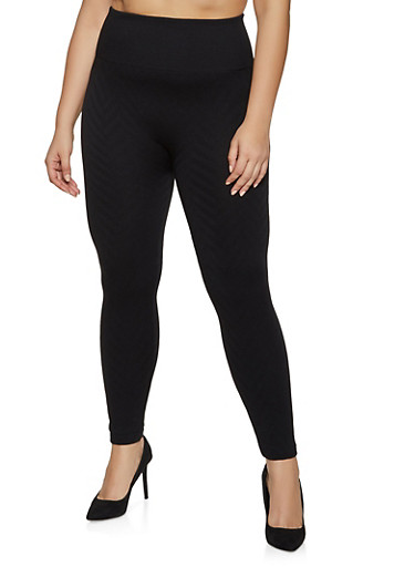 Plus Size Fleece Lined Chevron Textured Leggings,BLACK,large