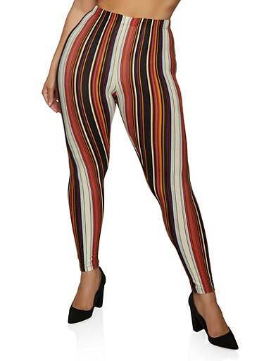 Plus Size Striped Leggings,COPPER,large