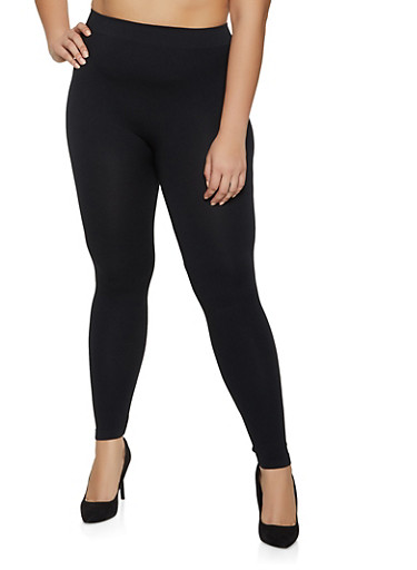 Plus Size Seamless Basic Leggings,BLACK,large