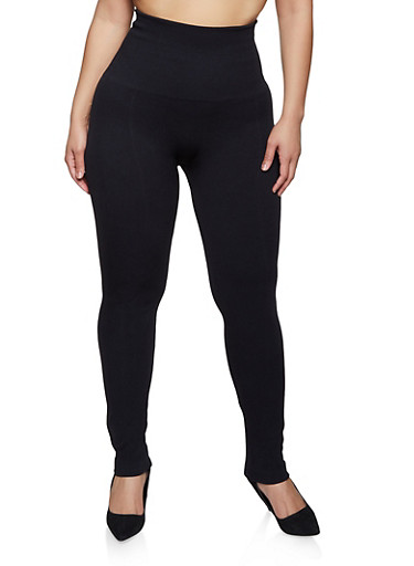 Plus Size Pintuck Leggings,BLACK,large