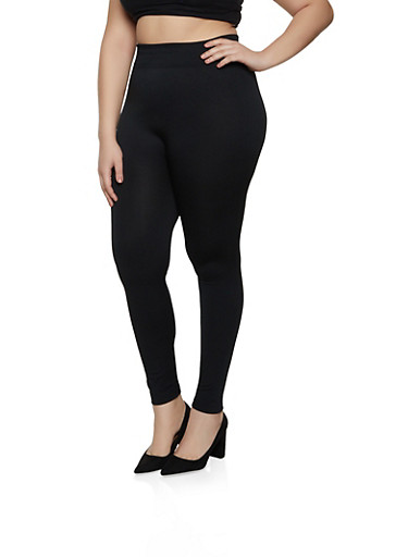 Plus Size Fleece Seamless Leggings,BLACK,large