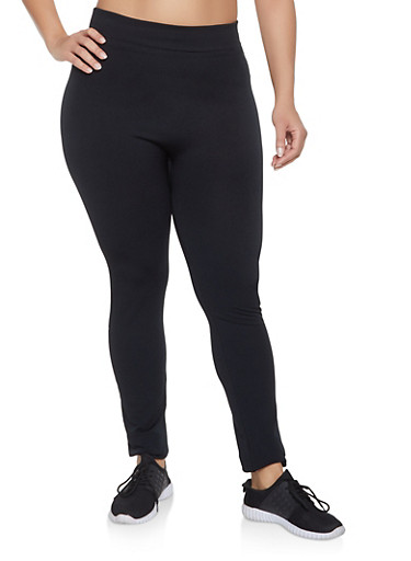 Plus Size Fleece Lined Seamless Leggings,BLACK,large