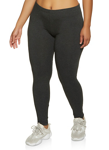 Plus Size Solid Leggings | 1969054261161,CHARCOAL,large