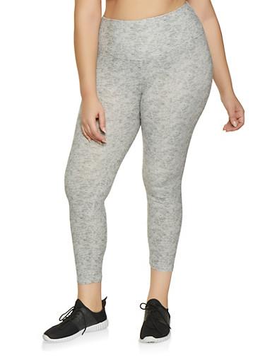 Plus Size Soft Knit Leggings,GRAY,large