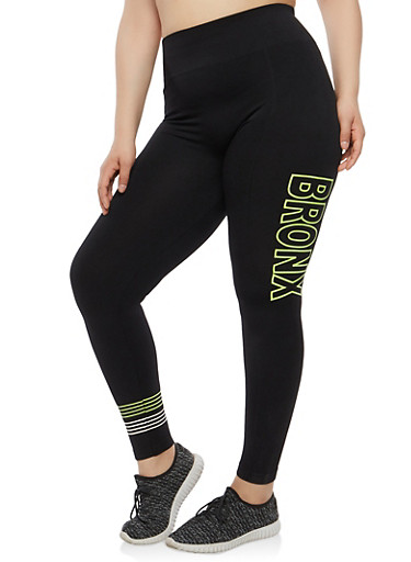 Plus Size Bronx Graphic Leggings,BLACK,large
