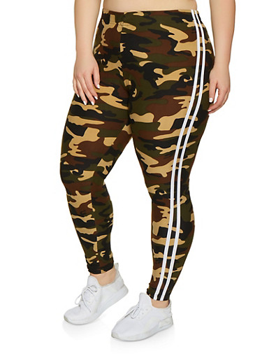 Plus Size Varsity Stripe Camo Leggings,OLIVE,large
