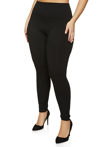 Plus Size Solid French Terry Leggings,BLACK,large