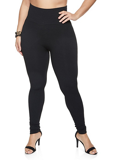 Plus Size Wide Waistband Leggings,BLACK,large