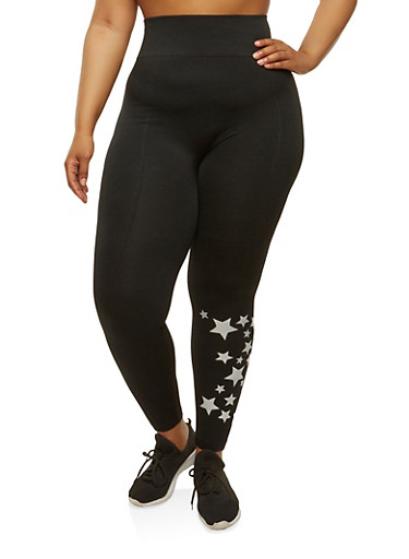 Plus Size Star Graphic Leggings,BLACK,large