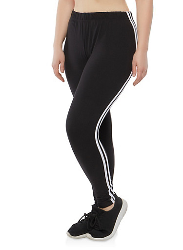 Plus Size Double Side Stripe Leggings | Tuggl