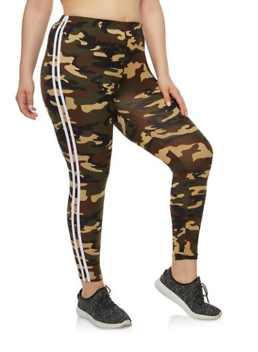Plus Size Camo Stripe Side Leggings | Tuggl