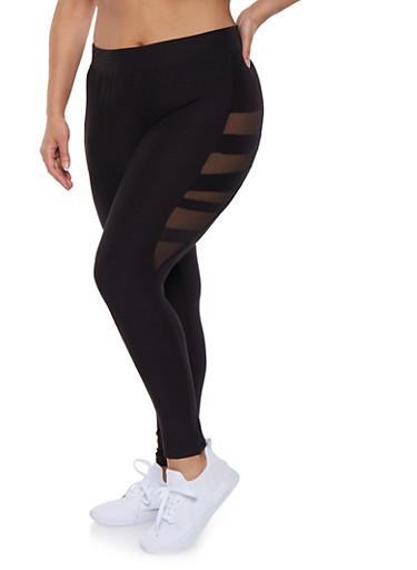 Plus Size Soft Knit Mesh Insert Leggings,BLACK,large
